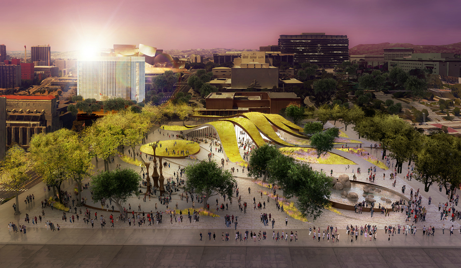 Rolling green 'ribbons' proposed for new urban park in downtown LA