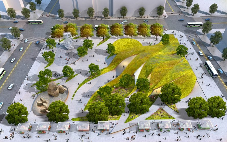 Rolling green 39 ribbons 39 proposed for new urban park in for Landscape design center