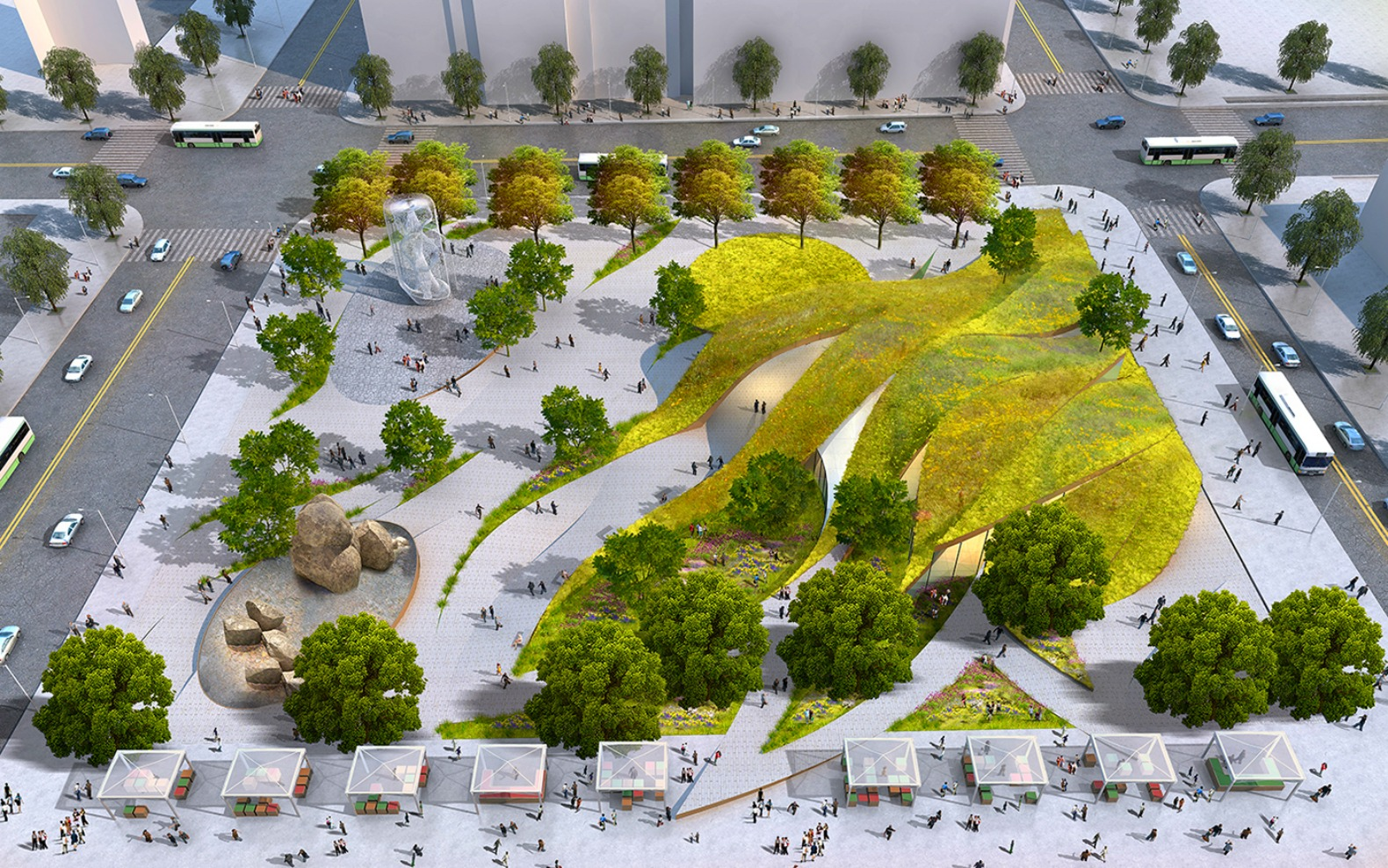 Rolling green 'ribbons' proposed for new urban park in ...
