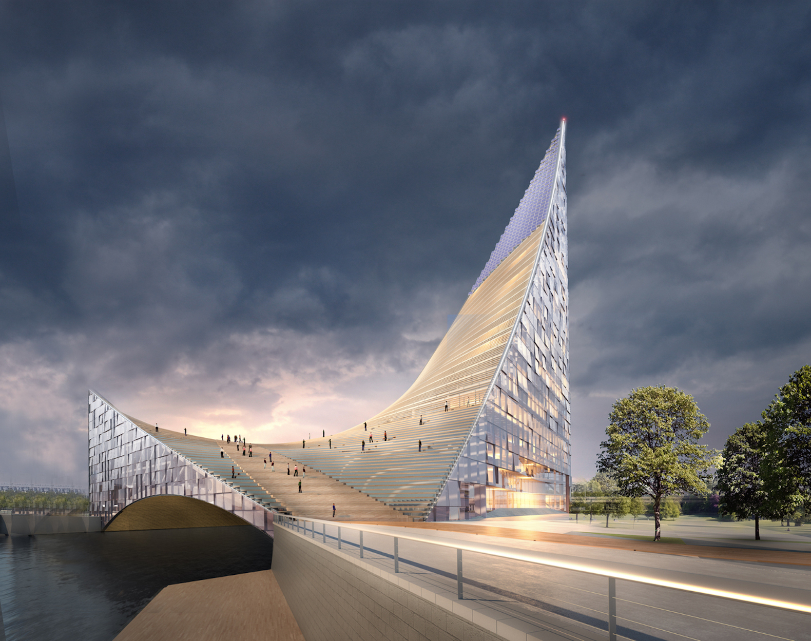 Chelyabinsk's Congress Hall by PIARENA. Archchel-2020 competition, architecture inspired by sails, sail-like architecture, BRICS and SCO conference center in Chelyabinsk, Chelyabinsk new architecture, Chelyabinsk congress hall