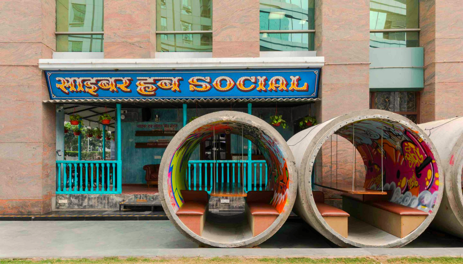 Cyber Hub Studio Upcycled Urban Cafe In India Modeled