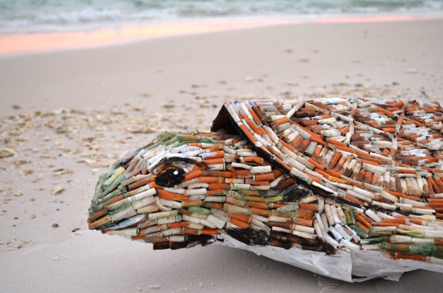 Cig the Sea Turtle, Cig the sea turtle by SHELLart, Cig by Shelly Terek, sea turtle made from cigarette butts, cigarette butt art, ocean trash turned into art, Pensacola Cig the sea turtle, Ocean Hour at Pensacola Beach