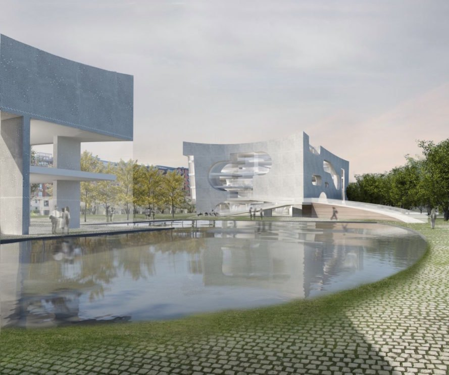 Cultural and Health Center by Steven Holl Architects, LEED platinum cultural center, Shanghai cultural center, cultural and health center by COFCO, COFCO commissioned architecture, Karl Popper inspired architecture, Punan Canal architecture, cloud inspired architecture