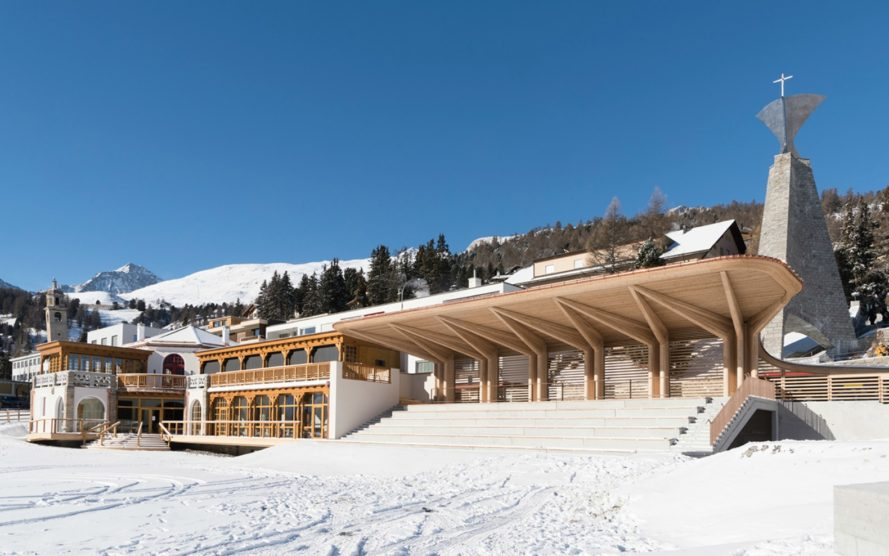 Foster + Partners, Kulm Eispavillon, Kulm Park, switzerland, st moritz pavilion, lord foster architecture, foster and partners architecture, restoration st moritz, architeture, repurposed architecture, sports pavilion design, flexible architecture, Eispavillon, wooden pavilions,