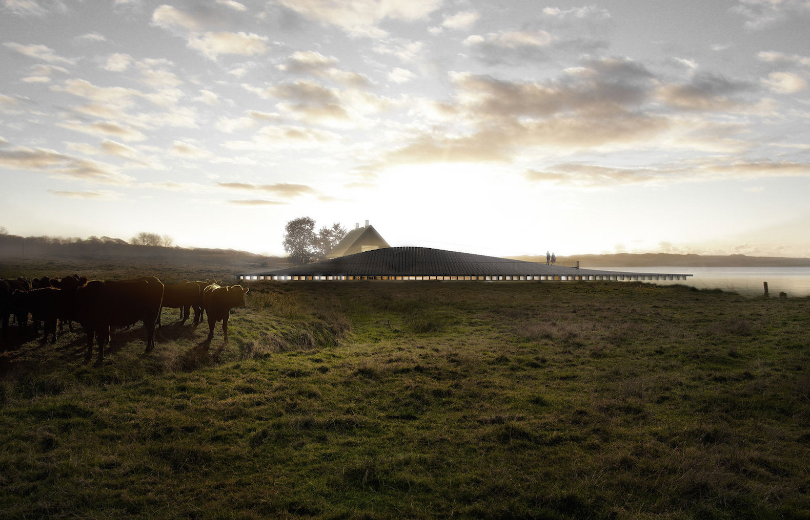 Kalø Castle Visitor Center by Arkitema Architects, Mols Bjerge National Park visitor center, Kalø Castle ruins new visitor center, Kalø Castle Visitor Center, hill-shaped architecture visitor center