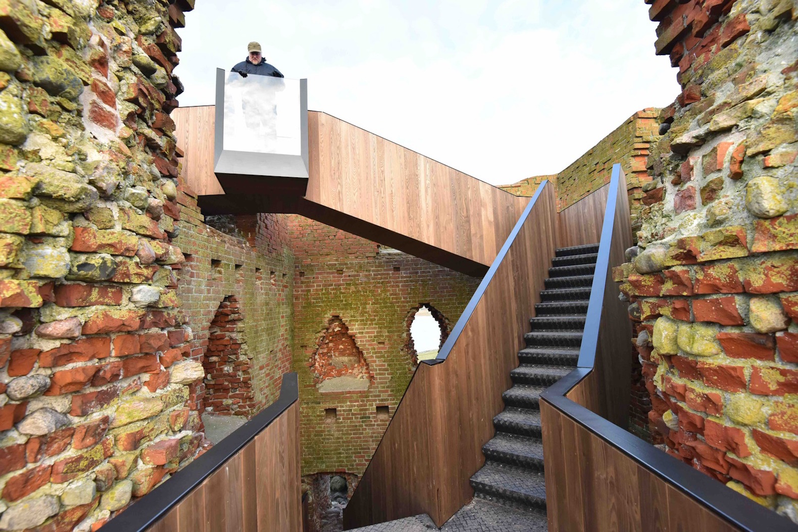 2017 European Mies van der Rohe Award, Kalø Slotsruin, Kalø Slotsruin visitor access, Kalø Slotsruin staircase, prefabricated staircase, restoring access to historical ruins, brick medieval ruins in Denmark, Kalø Slotsruin intervention by MAP Architects,