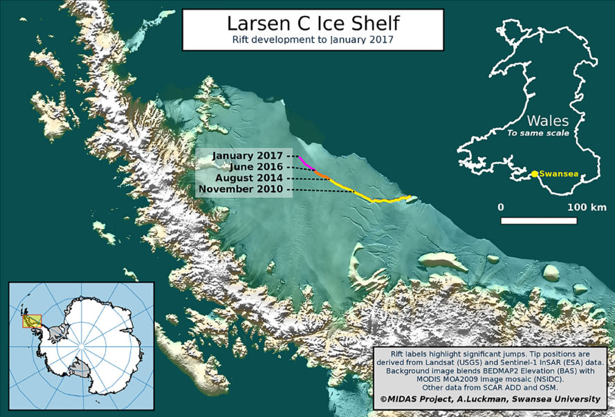 Larsen C, Larsen C ice shelf, ice shelf, rift, ice shelf rift, Antarctica, Antarctica ice shelf, geography, climate, warming, Project Midas, NASA, environment