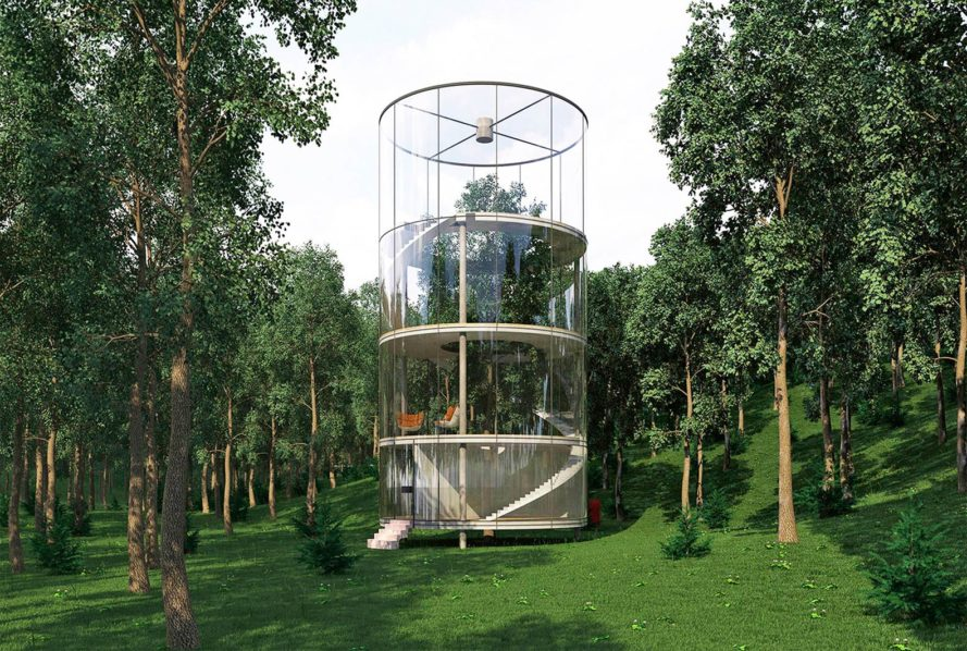 Tree House, Tree House by A. Masow Design Studio, A. Masow Design Studio, A. Masow, Kazakhstan, wood, woods, forest, forests, glass, glass facade, tree, trees, treehouse, treehouses, living tree, living trees, nature, environment, architecture, design