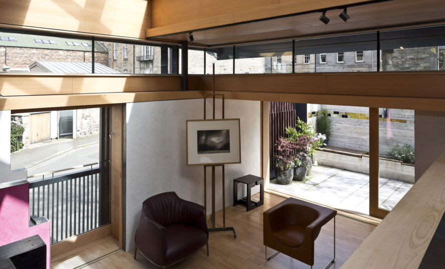 Murphy House, Richard Murphy Architects, solar power, Edinburgh, monopitch, solar panels, photovoltaic cells, rainwater harvesting, shutters, irrigation, grey water, grey water storage, green architecture