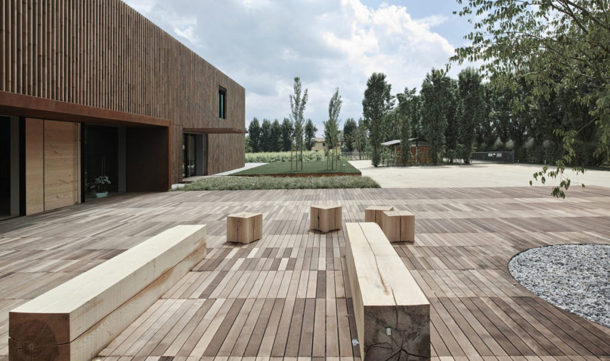 MADE Associati Architetti, New BIO Winery, beechwood, timber cladding, winery, Italy, organic wine, green architecture, wooden planks, timber façade, green renovation, biodiversity, locally sourced timber, sustainably harvested wood