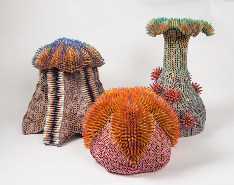 Pencil sculptures, colored pencil sculpture, Color Pencil Sculptures by Jennifer Maestre, Art Jennifer Maestre, turning pencils into beads