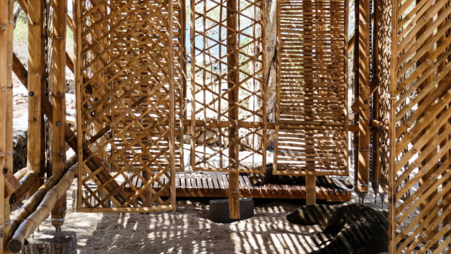 Playa Man shelter, The Scarcity and Creativity Studio, shade shelter, Galapagos, bamboo, beach shelter, locally sourced bamboo, locally sourced materials, natural building materials, renewable building materials, green architecture