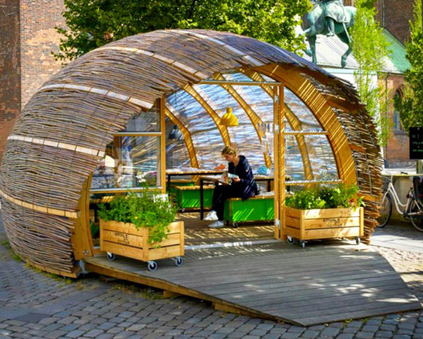 The green embassy, Steffen Impgaard, urban gardens, project Taste Aarhus, urban space, urban design, urban green space, Aarhus, Denmark, edible huts, green space, gardening initiatives, wooden pavilions, willow sticks, urban greenhouses, culinary initiatives,