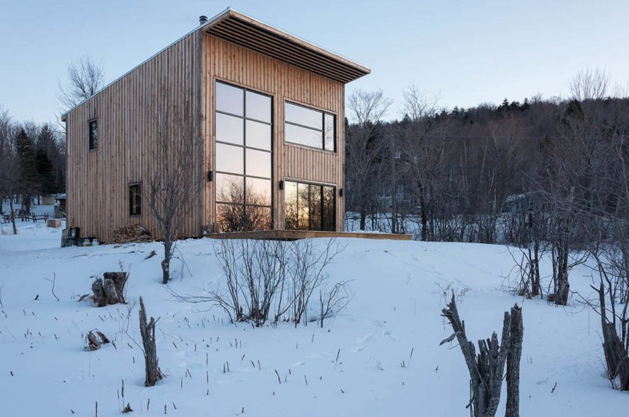 Wood Duck by Atelier l'Abri, Wood Duck self build project, Wood Duck in Bolton, Wood Duck architecture, self built cabin, cost effective cabin design, hemlock spruce cabin, hemlock spruce building material