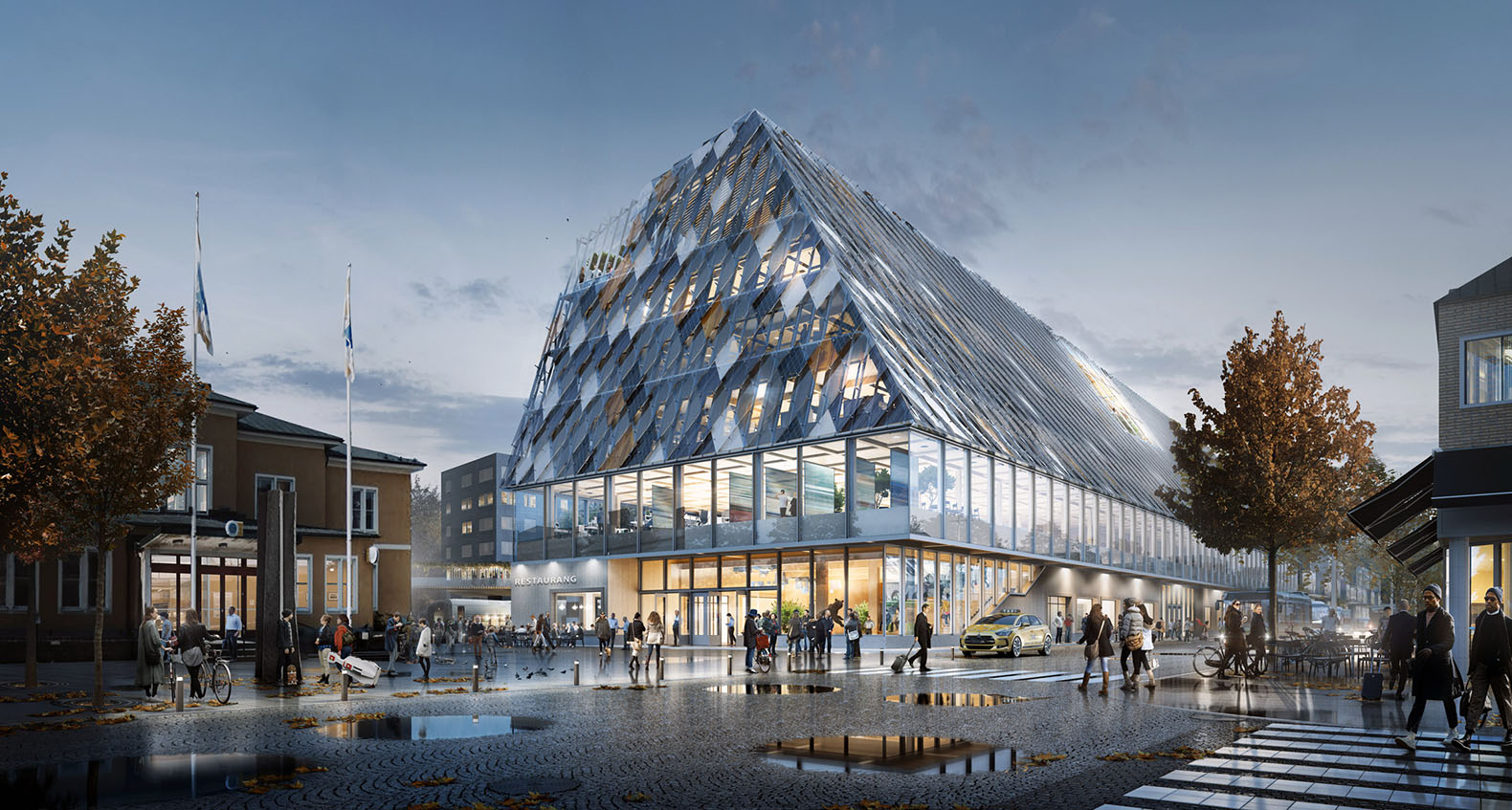 "This train station which doubles as city hall in Sweden will function as an ""urban living room"""