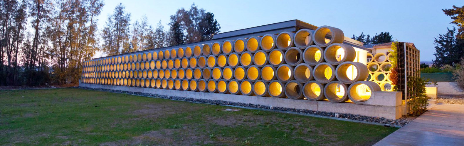 Screens made out of raw concrete pipes provide privacy for this chic modern  home | Inhabitat - Green Design, Innovation, Architecture, Green Building