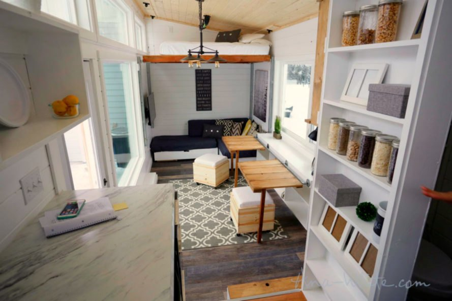 tiny houses, ana white, elevator bed, tiny home design, camper living, tiny home living, space saving furniture, flexible furniture, elevator bed desing, sliding storage, compact living, small living, minimal living, tiny home space, tiny home alaska, fold out bed, alaska tiny home