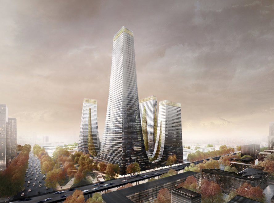 Cradle Towers by Tonkin Liu, Zhengzhou architecture, mountain inspired architecture, Songshan mountain inspired buildings, Cradle Towers in Zhengzhou, Cradle Towers in China