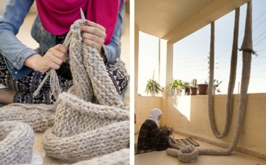 Rayah Kassisieh, NADAAA, Amman Design Week, syrian refugees, clothes for refugees, humanitarian initiatives, refugee crisis, refugee shelters, refugee clothing, refugee blankets, repurposed art installations, ENTRELAC,