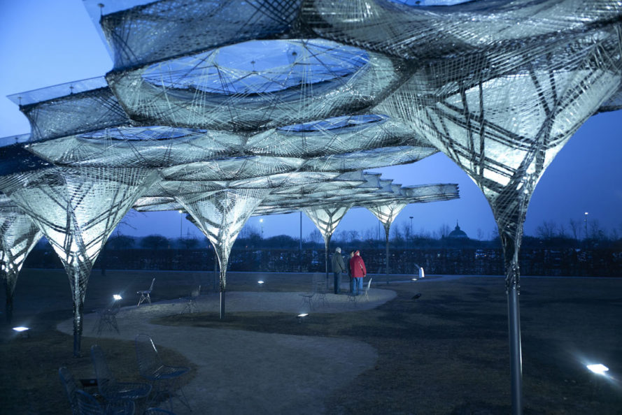 Elytra Filament Pavilion by University of Stuttgart, Vitra Design Museum robot architecture, Elytra Filament Pavilion, Elytra Filament Pavilion at Vitra Museum, robot built architecture, robotically built architecture, resin soaked glass, carbon fiber pavilion, carbon fiber architecture, biomimetic architecture