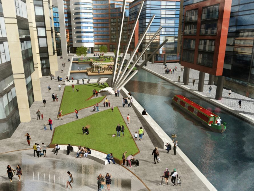 Floating Pocket Park, London parks, floating park london, London Floating Pocket Park, pocket park london, merchant square park, floating parks, urban green space, Paddington Basin, Grand Union Canal, urban garden, urban lanscaping, landscaping architecture