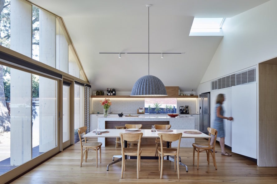 Lean to House by Warc Studio, lean to house extension design, contemporary lean to extension, sustainable lean to extension, Oakleigh lean to extension, timber fins for solar shades,