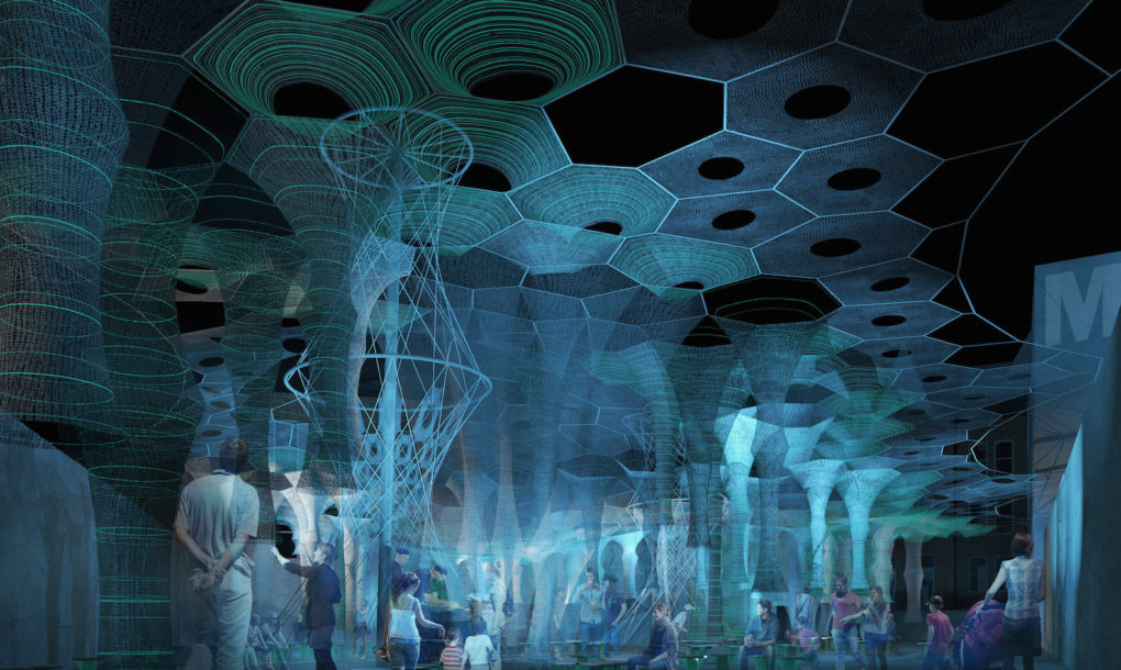Futuristic Canopy Made Of Knitted Solar Panels Wins 2017