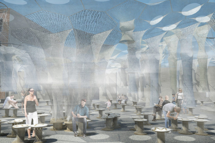 Lumen installation at MoMA PS1, Lumen by Jenny Sabin Studio, Jenny Sabin Studio at MoMA, MoMA Young Architects Program 2017, robotically woven canopy, photoluminescent textiles, recycled textiles, solar textile