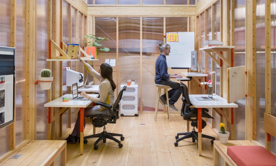 LOS OSOS, Coroflot, Mobile Work Unit (MWU), flexible spaces, mobile workspace, trailer, Los Angeles, modular furniture, green architecture, green design, flexible office space, natural light, post and beam, locally sourced wood, polycarbonate panels