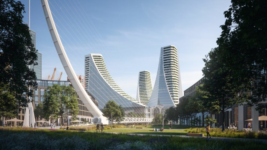 Greenwich Peninsula development project, Greenwich Peninsula by Knight Dragon, Knight Dragon and Santiago Calatrava, Peninsula Place by Santiago Calatrava, Peninsula Central neighborhood, Greenwich Peninsula regeneration project,