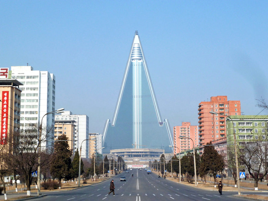 Ryugyong Hotel, North Korea, Hotel of Doom, abandoned hotel, abandoned buildings, unfinished buildings, world's tallest building, Pyongyang, Orascom