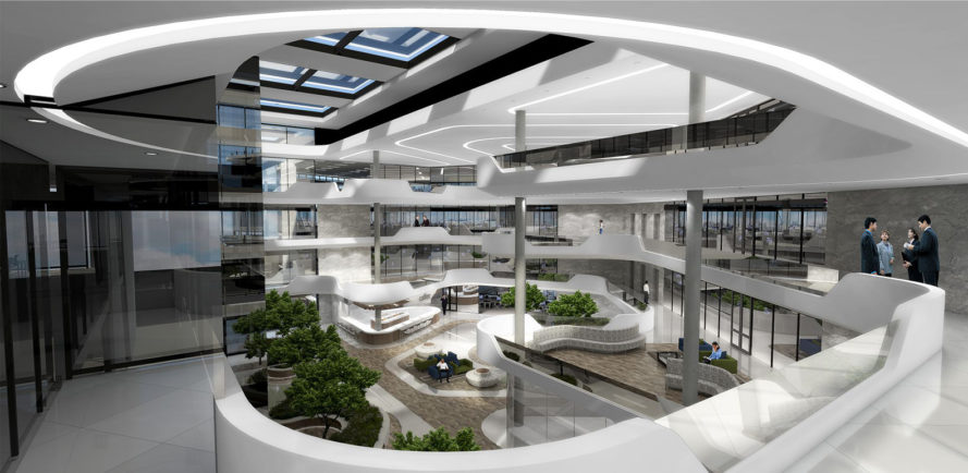Midrand Waterfall Development, Schneider Electric office building, Aevitas Group, LEED Gold certification, South Africa, green architecture, atrium, natural light, skylights, high-performance facade, aluminium, waste management, HVAC systems, water consumption