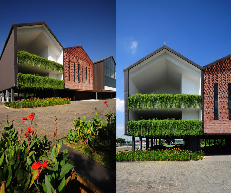 Series of Barns by L Architects, Series of Barns at Johor Straits, renovated project in Malaysia, adaptive reuse in Malaysia, gabled wall covered in green creepers, adaptive reuse project by L Architects