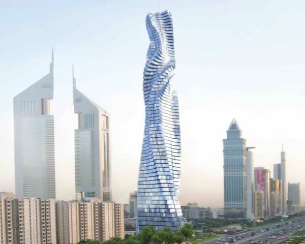 Dynamic Tower, david fisher, dubai skyscaper, rotating skyscraper, spinning tower dubai, wind power, sustainable energy, clean energy, luxury condos dubai, dubai dynamic tower, twisting tower, rotating homes,