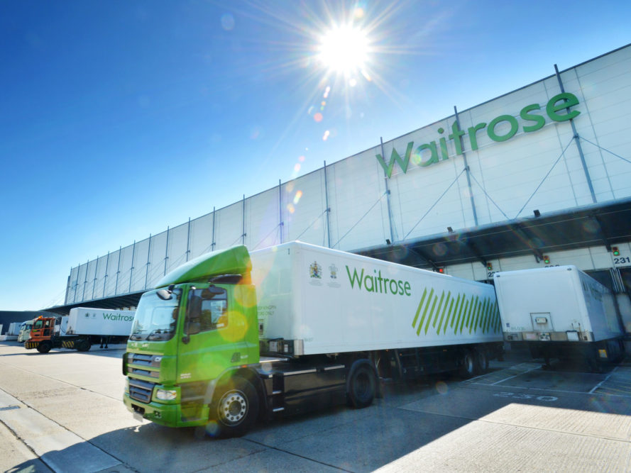 Waitrose, trucks, supermarkets, food waste, methane, green fuel, England, United Kingdom, U.K.