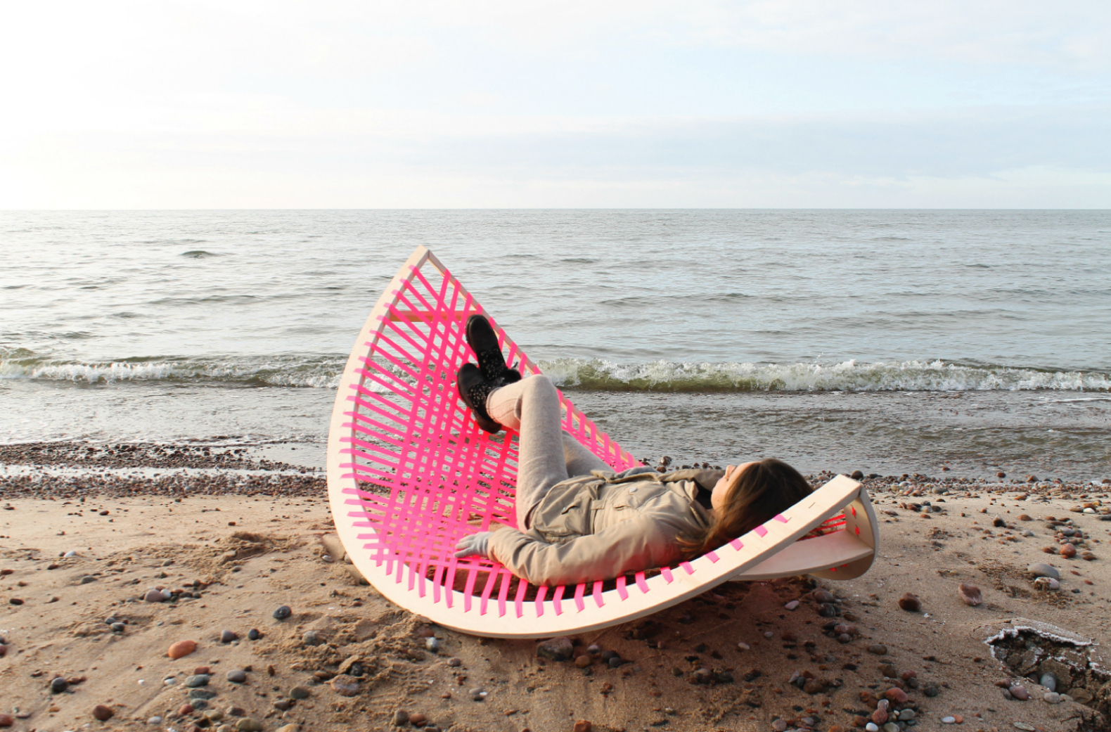 This quirky pink hammock doesn't need trees to rock your world