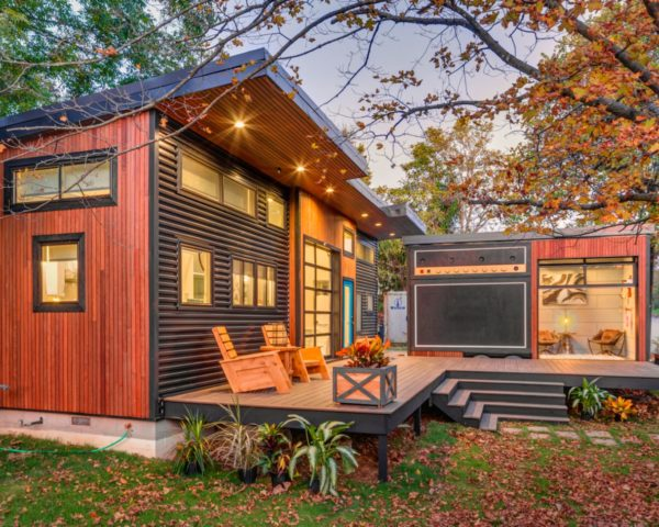 Asha Mevlana, Amplified Tiny House, tiny home living, small homes, Tiny House Nation, concert tiny home, tiny concert spaces, music homes, tiny home design, recycled denim, repurposed insulation,