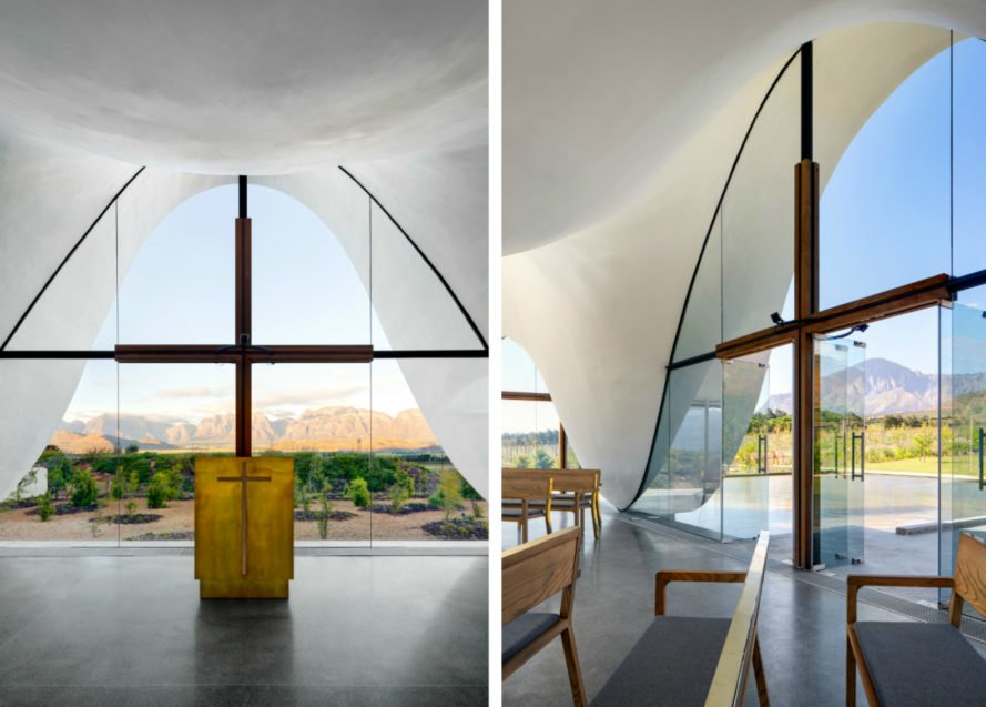 Steyn Studios, TV3 architects, Bosjes Chapel , south african chapel, chapels south africa, church design, undulating roofs, roof design, unique roof design, Western Cape Province, Bosjes Farm, nature-inspired design, arched roofs, cape dutch architecture, unique architecture, unique roofs, undulating structures