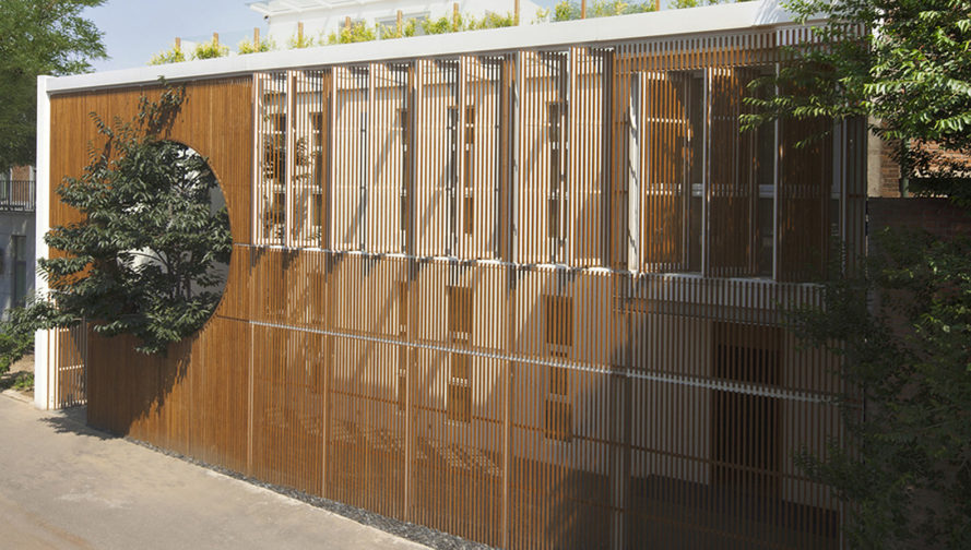 Elongated Industrial Box, Ding Hui Yuan Zen & Tea Chamber, He Wei Studio / 3andwich Design, green renovation, factory renovation, Beijing, Chinese garden, inner courtyard, meditation room, green architecture, office space, ramps and walkways