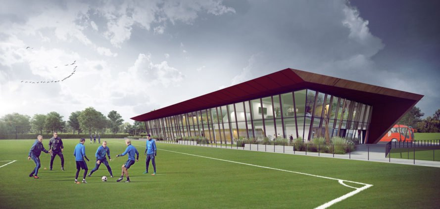 Feynoord Training Complex, Moederscheim Moonen Architects, football, sports architecture, masterplan, Rotterdam, perforated facade, green architecture, weathered steel, overhanging roof