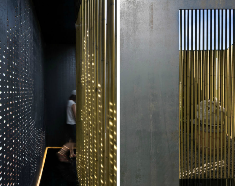 HE Xiao-Ping, LI Xing-Lin, Origin of Everything, Hui installation, art installations, bamboo art, bamboo art installation, bamboo structures, Guangzhou Design Week, LOW-E materials, art events china, bamboo designs, chinese architecture, chinese art, chinese designers, cubed architecture