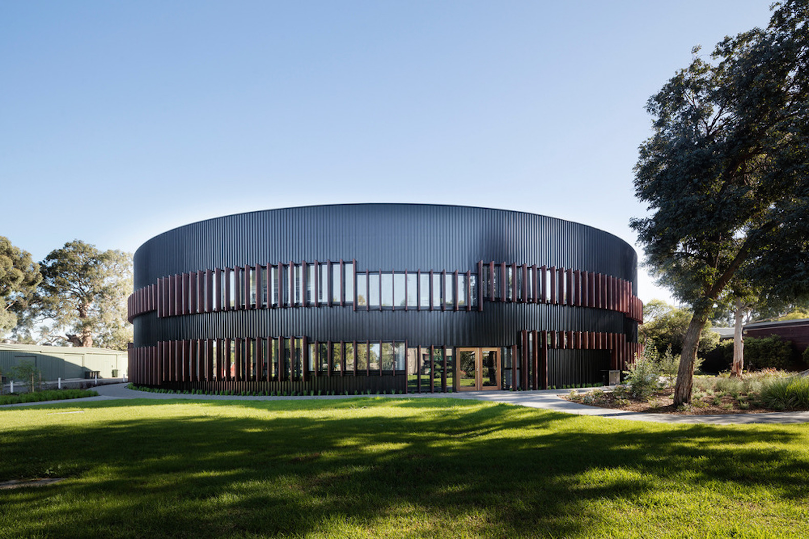 Circular school hides a kaleidoscope of color and geometry