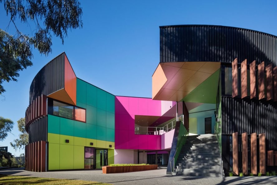 Ivanhoe Grammar Senior Years & Science Center by McBride Charles Ryan, school design by McBride Charles Ryan, colorful school architecture, WAN Color in Architecture Award winner, Ivanhoe Grammar School architecture,