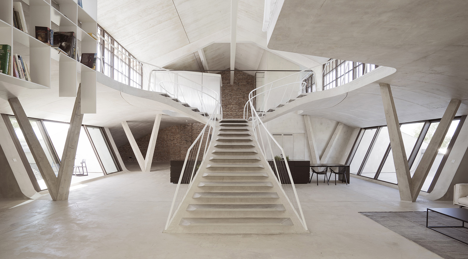 A Spectacular Staircase Draws You Into This Breathtaking Daylit Loft In  Salzburg