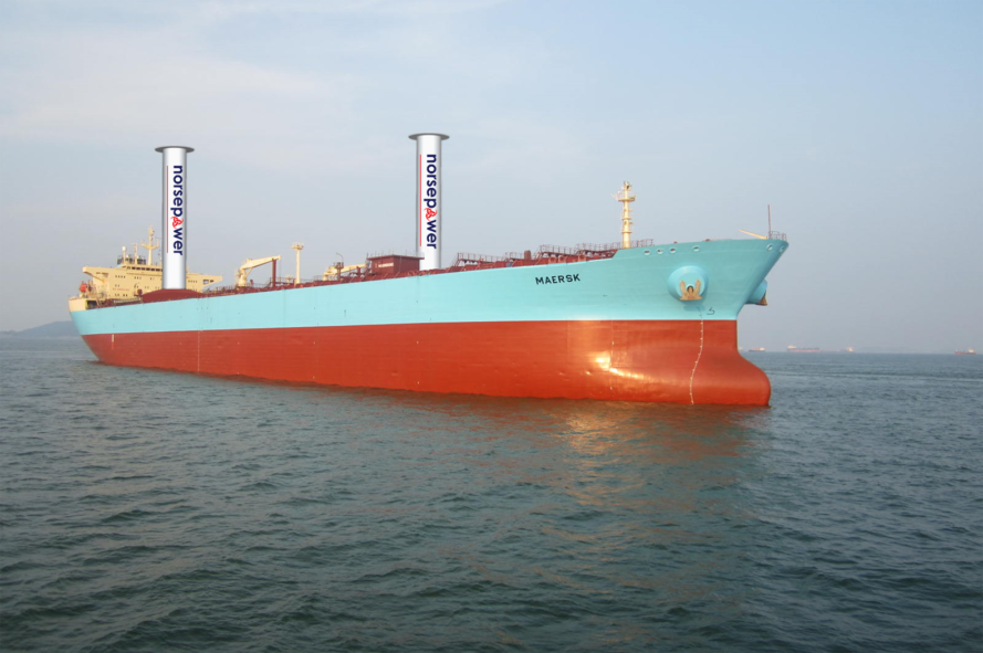 spinning sails, wind power, renewable energy, clean power, design, norsepower, shell oil, maersk, spinning sails power ocean tankers, maersk trial spinning sails