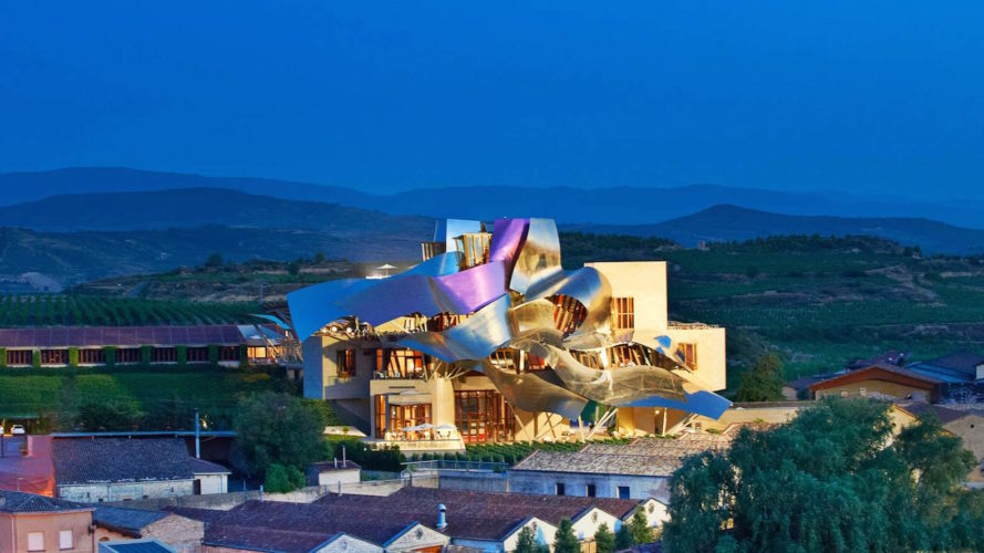 Marques de Riscal hotel by Frank Gehry, Marques de Riscal winery, Marques de Riscal hotel, Marques de Riscal architecture, modern architecture in Elciego, Elciego avant garde hotel, Frank Gehry hotel