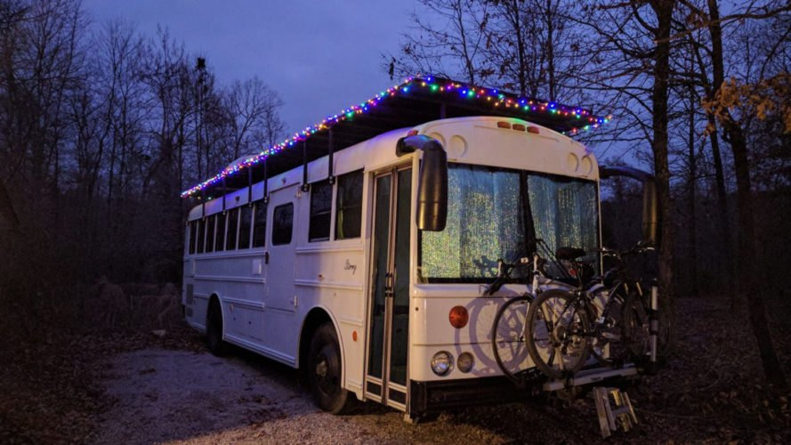 Natural State Nomads, converted school bus, solar-powered vehicle, green conversion, mobile home, solar power, composting toilet, green transportation