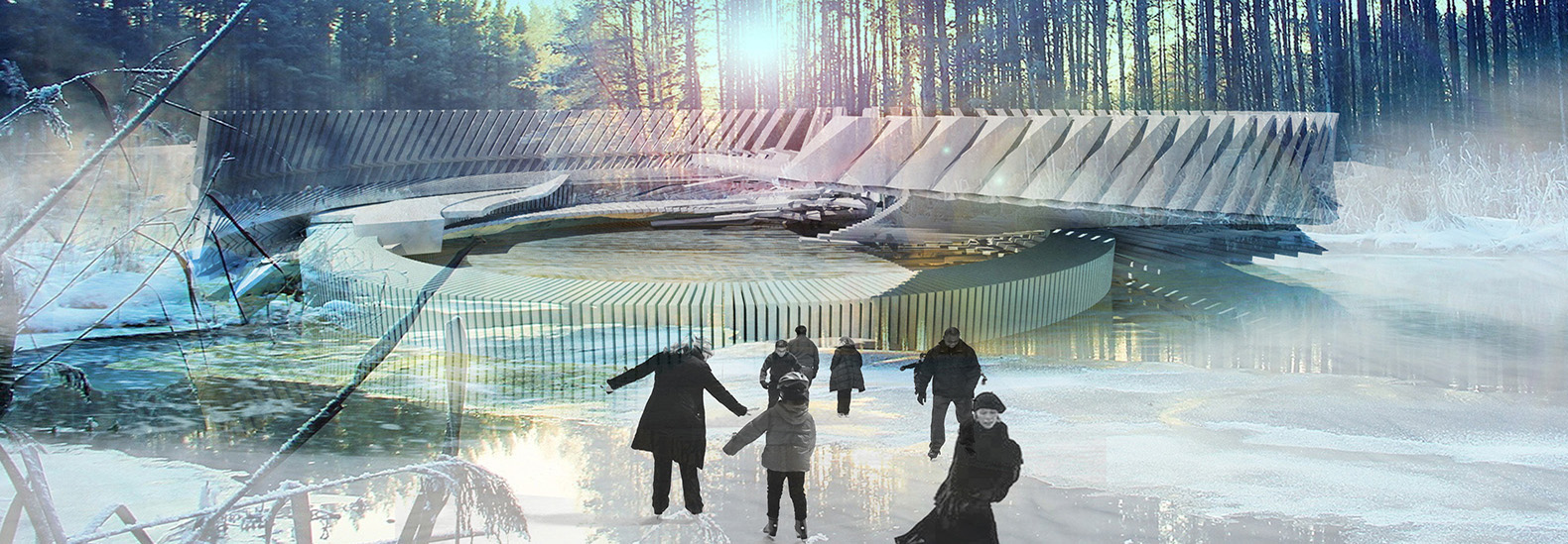 russian ice skating rink doubles as a solar powered outdoor cinema