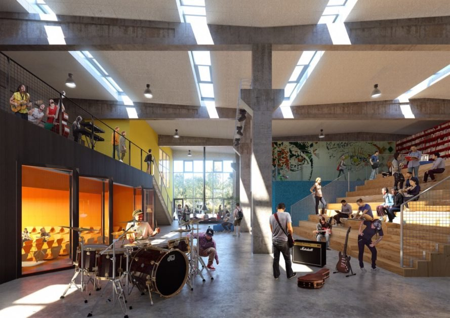 Roskilde Festival Folk High School by MVRDV and COBE, renovated cement factory, alternative high school in Denmark, alternative school in Roskilde, ROCKmagneten masterplan, ROCKmagneten folk high school