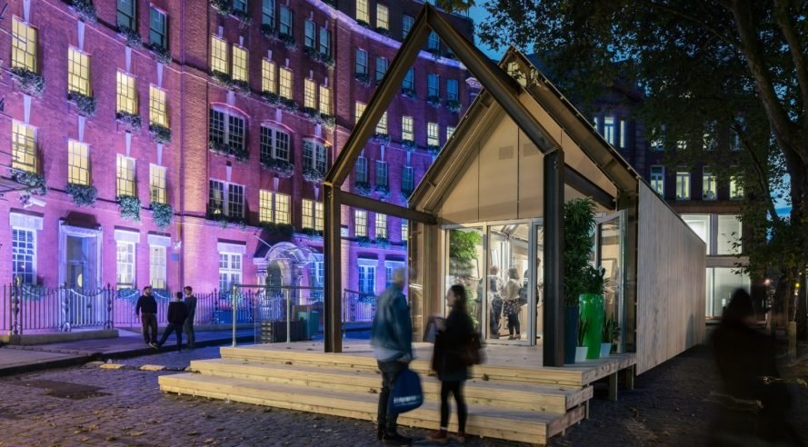 Arup, Circular Economy Building, London Design Festival, recycled materials, reusable materials, temporary structure, prefab, pavilion, London, green architecture, circular economy, acoustic wall system, sips panels, recycled plastic bottles